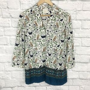 Anthropologie Maeve Size 2 Top Woodland Walk Owls